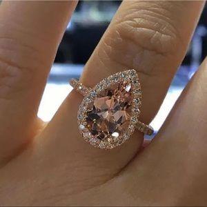 2ct pink pear diamond CZ halo 💍 size 5